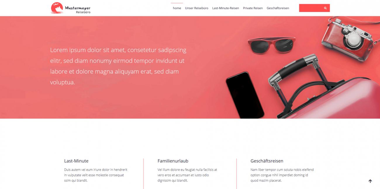 Website Vorlage Reisebüro