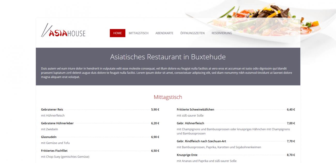 Website Vorlage Asia Restaurant