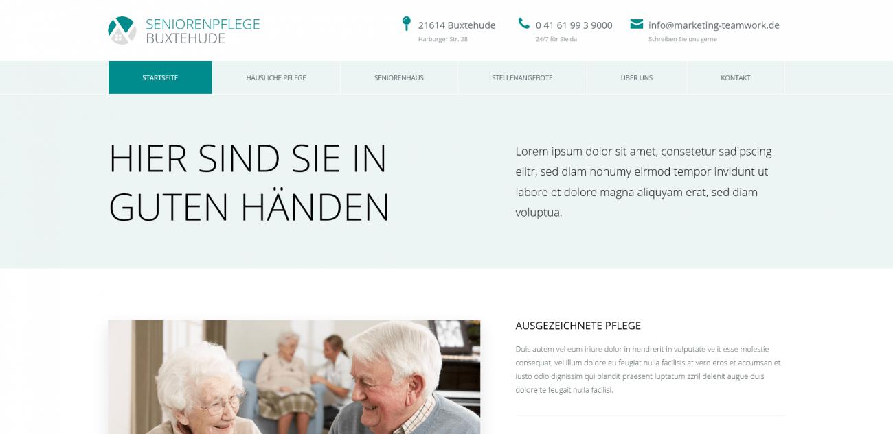 Website Vorlage Seniorenpflege