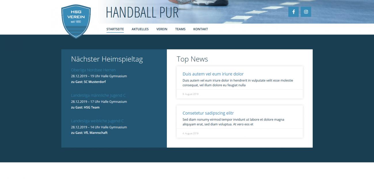 Website Vorlage Verein